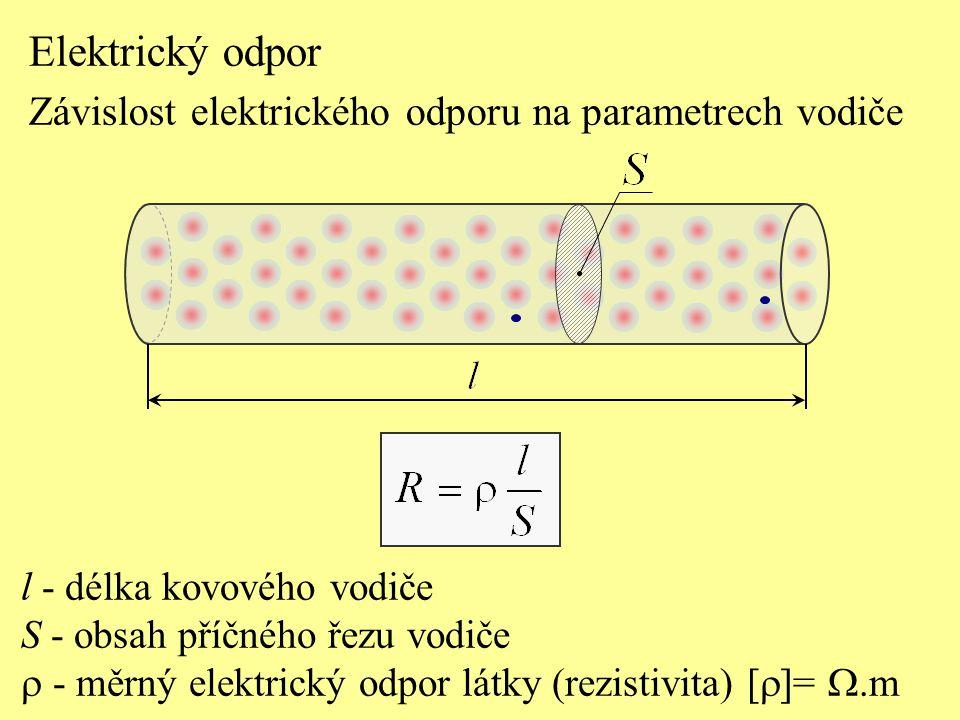 Elektrický odpor Závislost elektrického odporu na parametrech vodiče