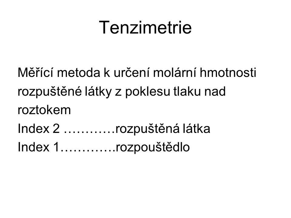 Tenzimetrie Měřící metoda k určení molární hmotnosti