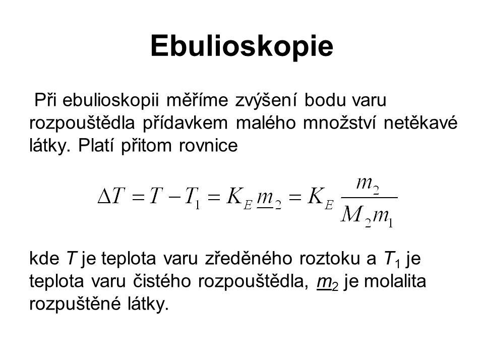 Ebulioskopie Při ebulioskopii měříme zvýšení bodu varu