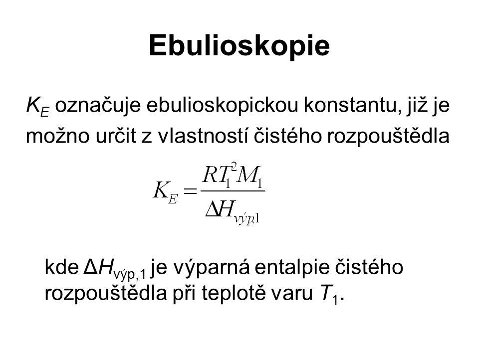 Ebulioskopie KE označuje ebulioskopickou konstantu, již je