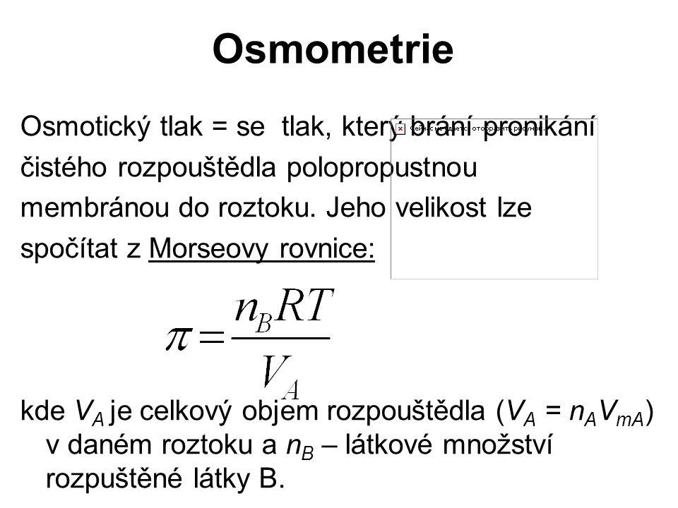 Osmometrie Osmotický tlak = se tlak, který brání pronikání