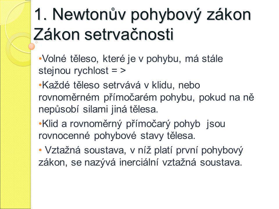 1. Newtonův pohybový zákon Zákon setrvačnosti