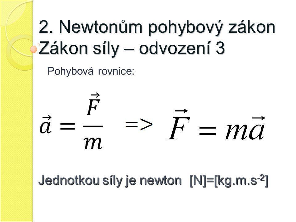 2. Newtonům pohybový zákon Zákon síly – odvození 3