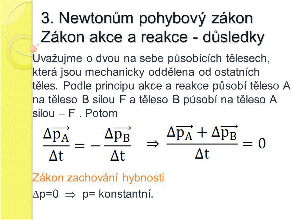 3. Newtonům pohybový zákon Zákon akce a reakce - důsledky