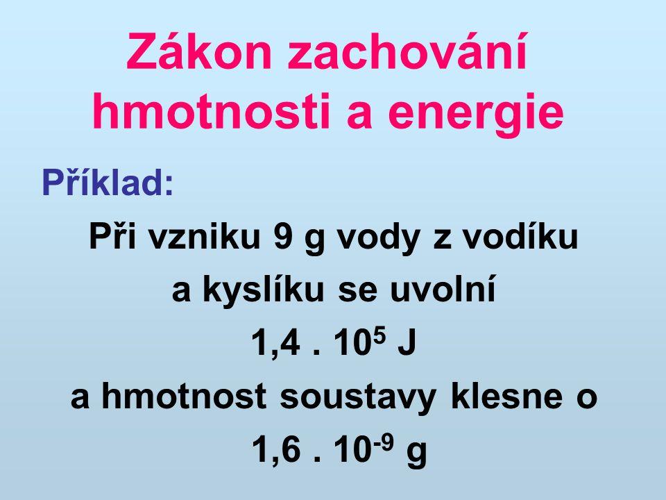 Zákon zachování hmotnosti a energie