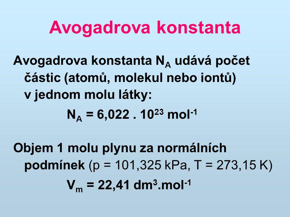 Avogadrova konstanta Avogadrova konstanta NA udává počet částic (atomů, molekul nebo iontů) v jednom molu látky: