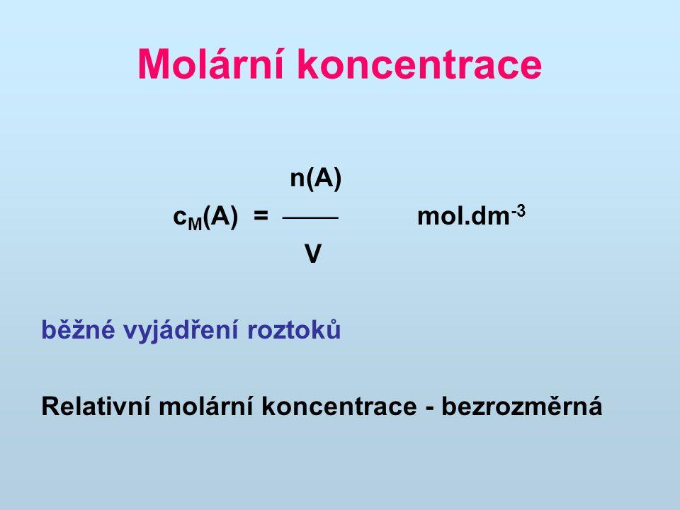 Molární koncentrace n(A) cM(A) =  mol.dm-3 V běžné vyjádření roztoků