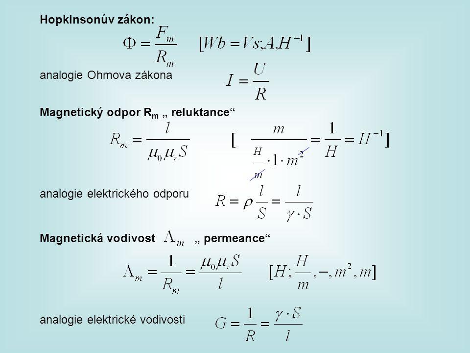 """Hopkinsonův zákon: analogie Ohmova zákona. Magnetický odpor Rm """" reluktance analogie elektrického odporu."""
