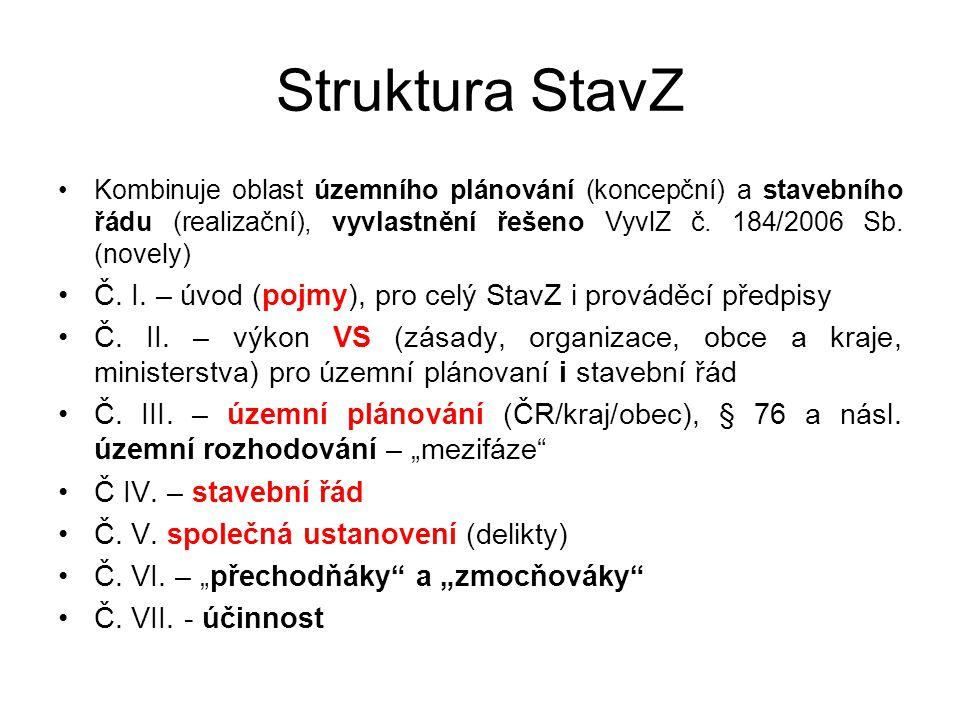 Struktura StavZ Kombinuje oblast územního plánování (koncepční) a stavebního řádu (realizační), vyvlastnění řešeno VyvlZ č. 184/2006 Sb. (novely)