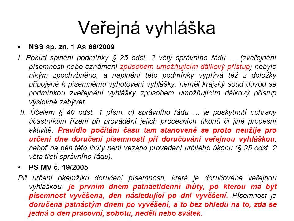Veřejná vyhláška NSS sp. zn. 1 As 86/2009