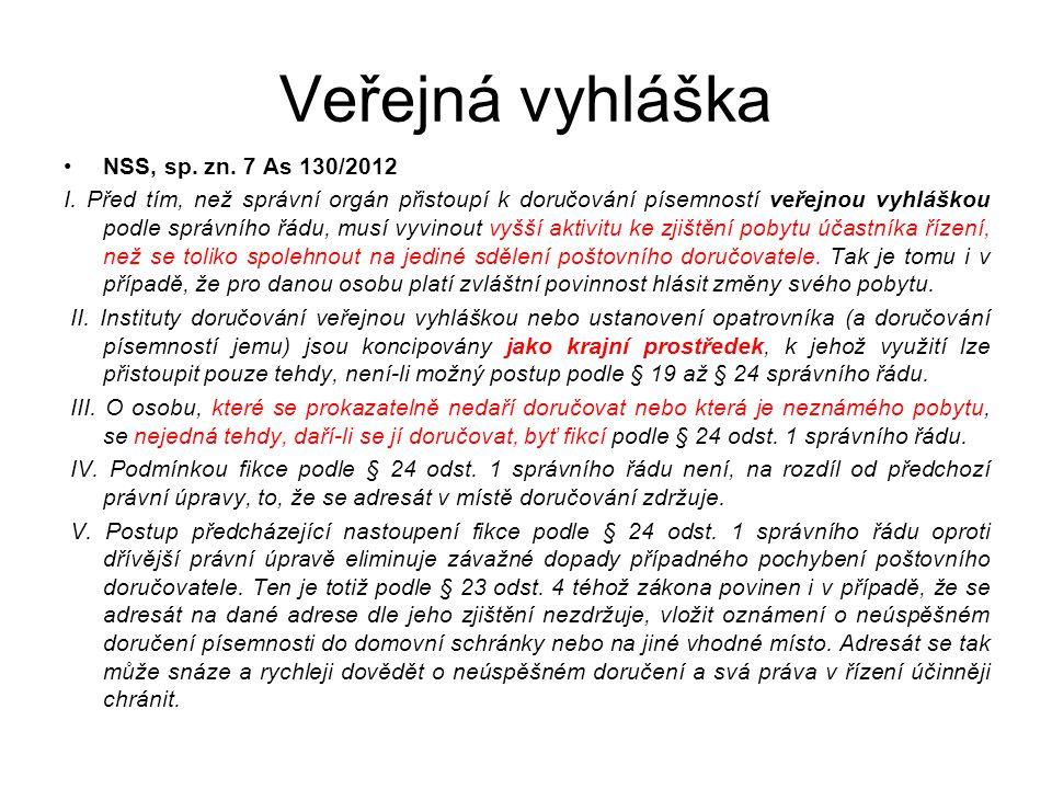 Veřejná vyhláška NSS, sp. zn. 7 As 130/2012