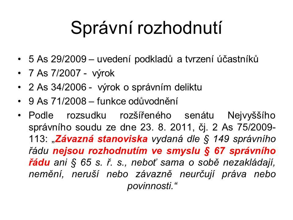 Správní rozhodnutí 5 As 29/2009 – uvedení podkladů a tvrzení účastníků