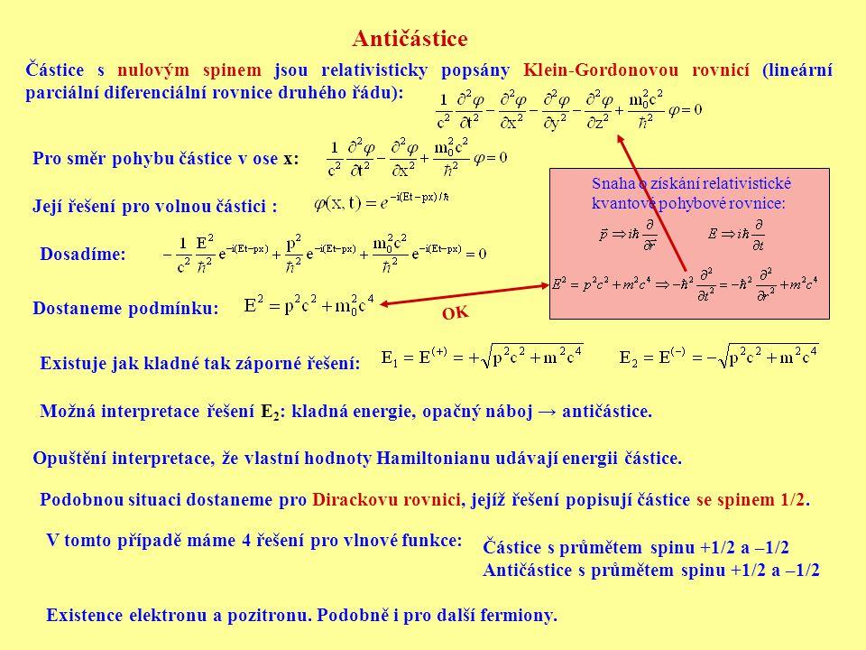 Antičástice Částice s nulovým spinem jsou relativisticky popsány Klein-Gordonovou rovnicí (lineární parciální diferenciální rovnice druhého řádu):