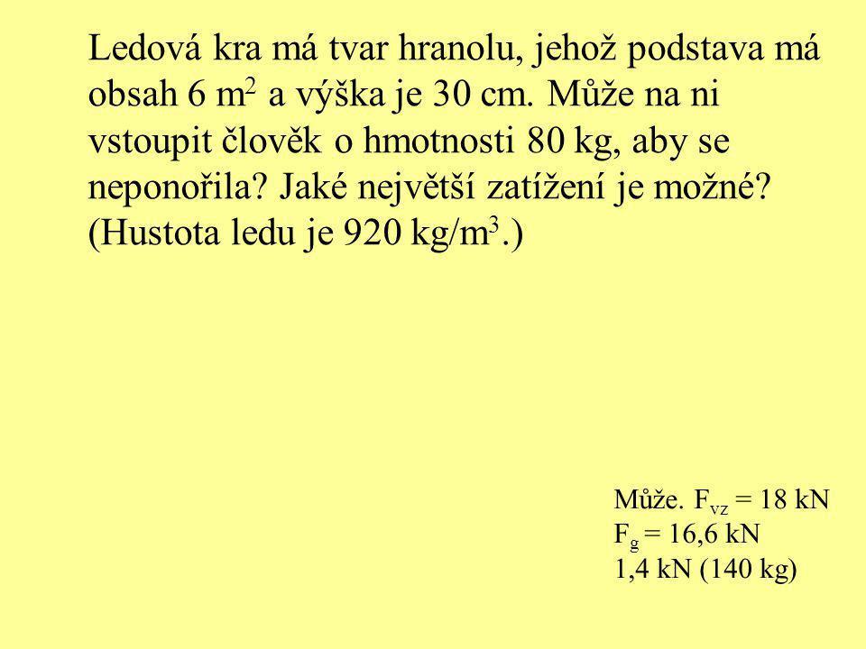 Ledová kra má tvar hranolu, jehož podstava má obsah 6 m2 a výška je 30 cm. Může na ni vstoupit člověk o hmotnosti 80 kg, aby se neponořila Jaké největší zatížení je možné (Hustota ledu je 920 kg/m3.)