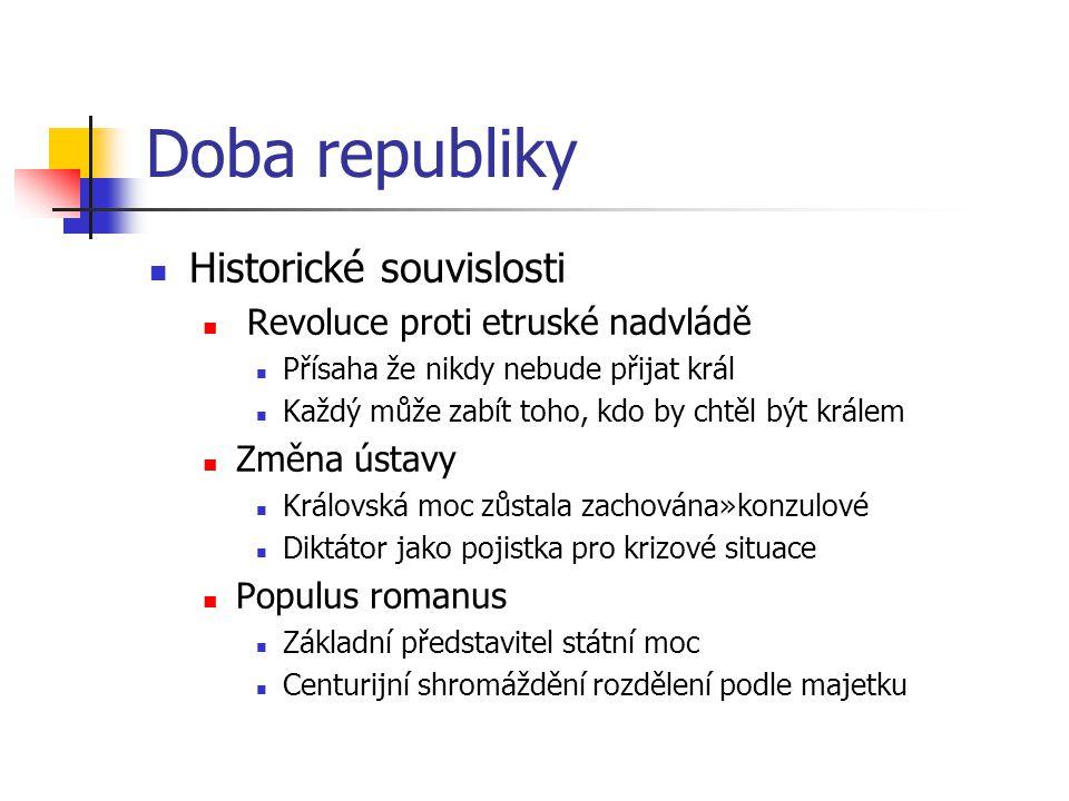 Doba republiky Historické souvislosti Revoluce proti etruské nadvládě