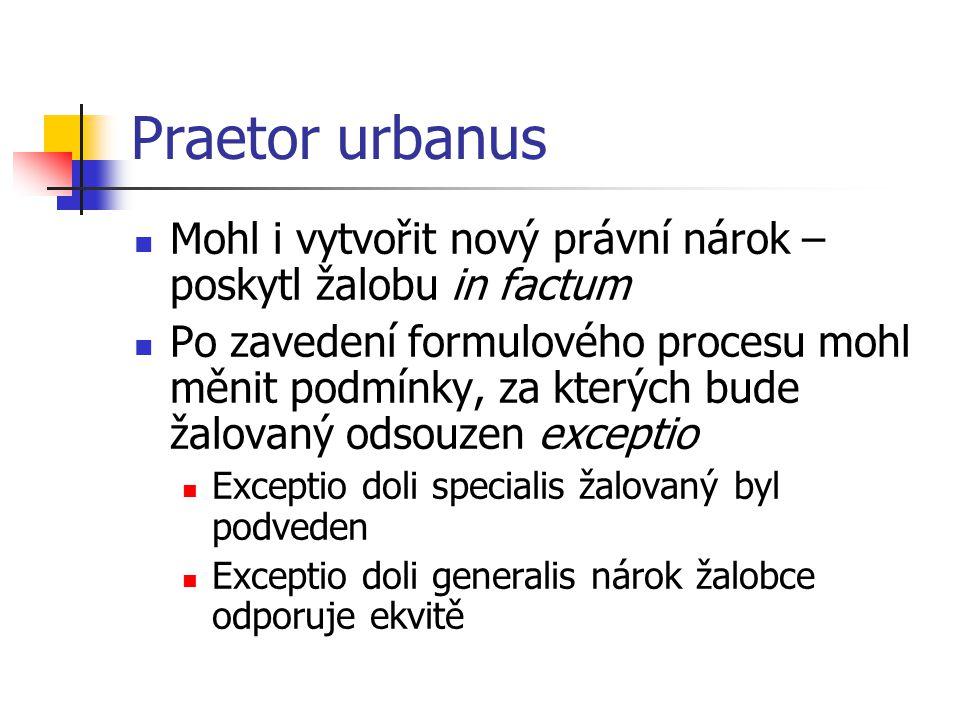 Praetor urbanus Mohl i vytvořit nový právní nárok – poskytl žalobu in factum.