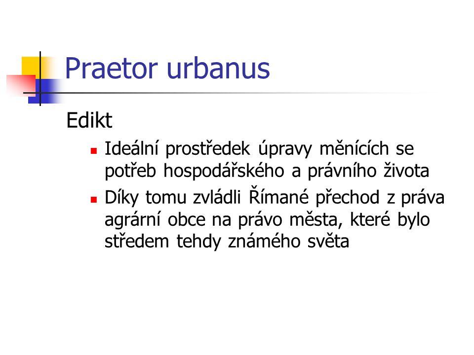 Praetor urbanus Edikt. Ideální prostředek úpravy měnících se potřeb hospodářského a právního života.