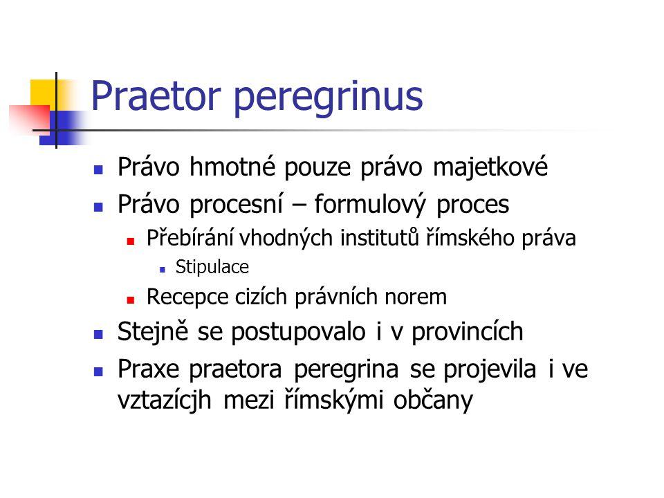 Praetor peregrinus Právo hmotné pouze právo majetkové