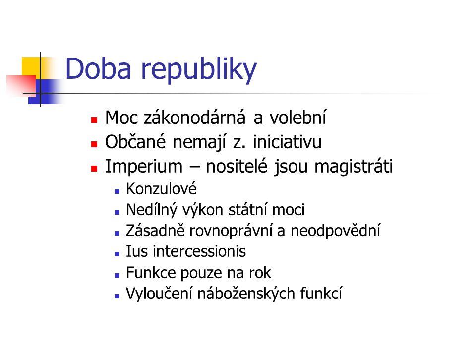 Doba republiky Moc zákonodárná a volební Občané nemají z. iniciativu