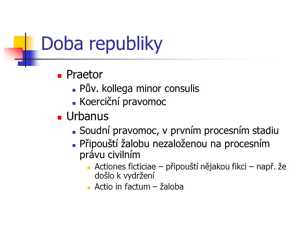 Doba republiky Praetor Urbanus Pův. kollega minor consulis