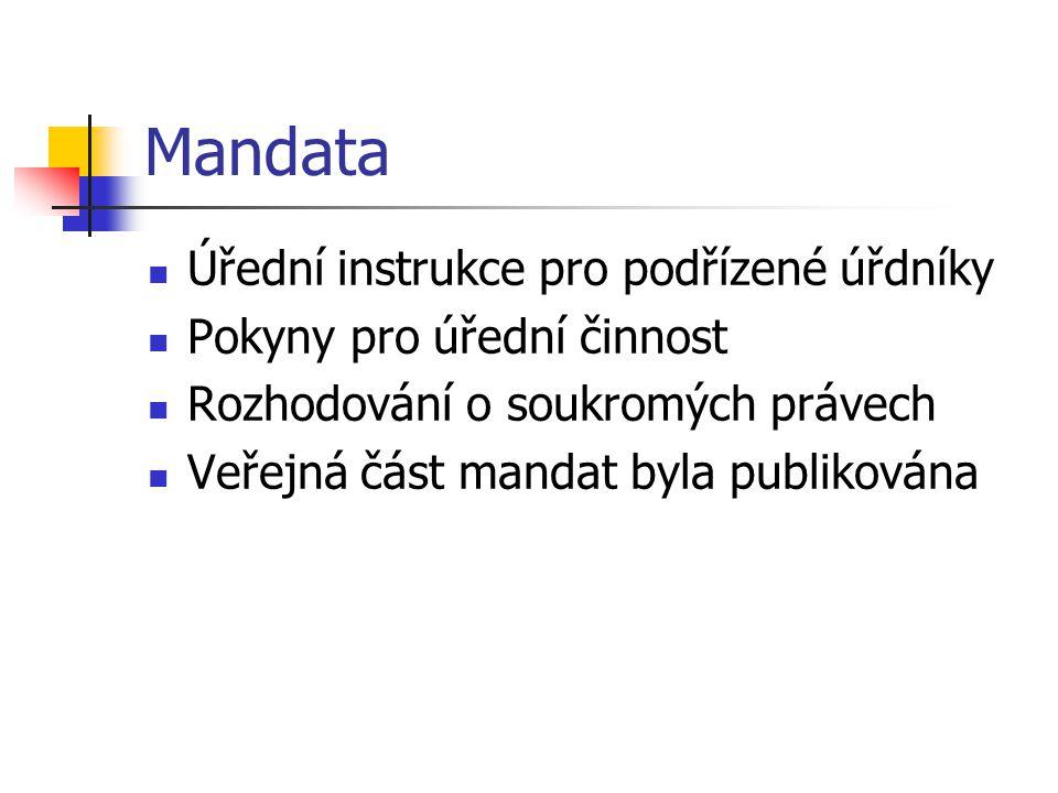 Mandata Úřední instrukce pro podřízené úřdníky