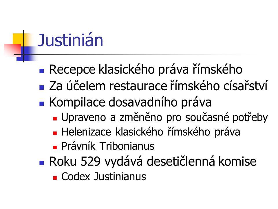 Justinián Recepce klasického práva římského