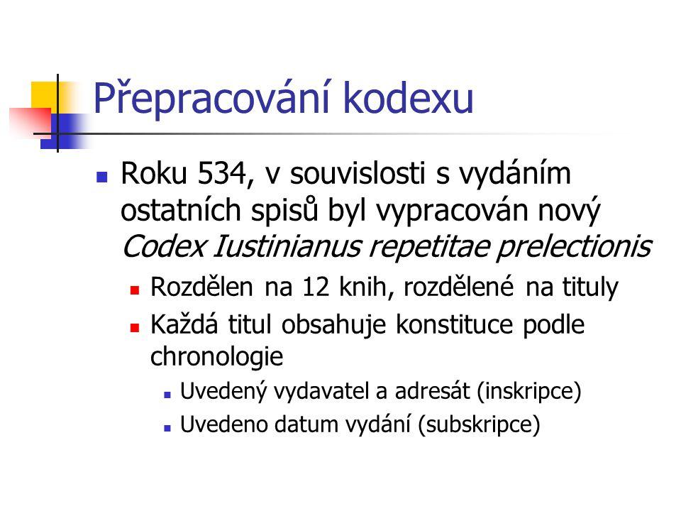 Přepracování kodexu Roku 534, v souvislosti s vydáním ostatních spisů byl vypracován nový Codex Iustinianus repetitae prelectionis.