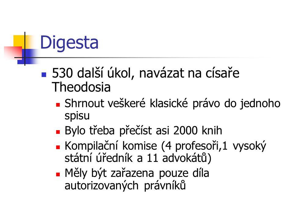 Digesta 530 další úkol, navázat na císaře Theodosia