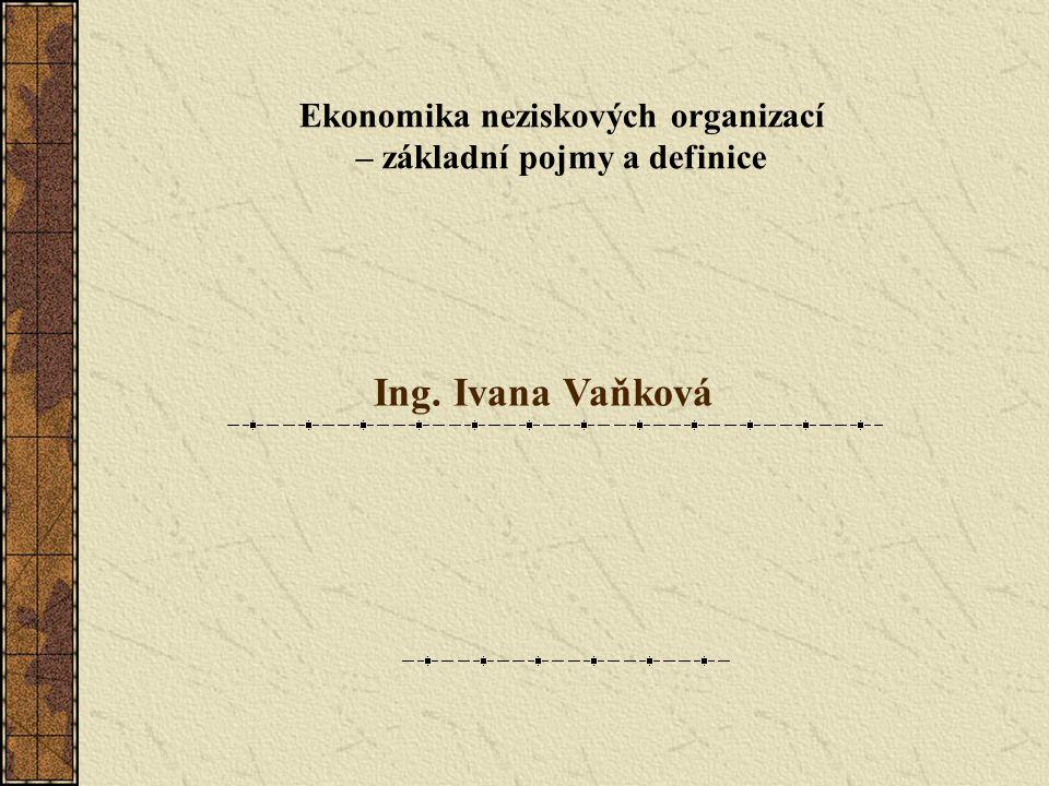 Ekonomika neziskových organizací – základní pojmy a definice