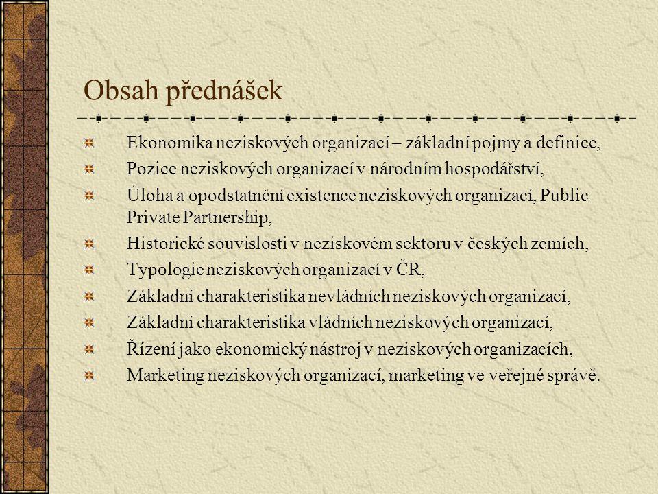 Obsah přednášek Ekonomika neziskových organizací – základní pojmy a definice, Pozice neziskových organizací v národním hospodářství,