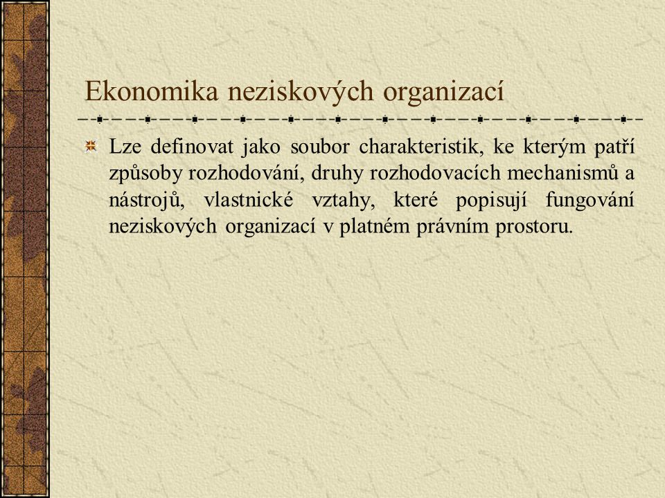 Ekonomika neziskových organizací