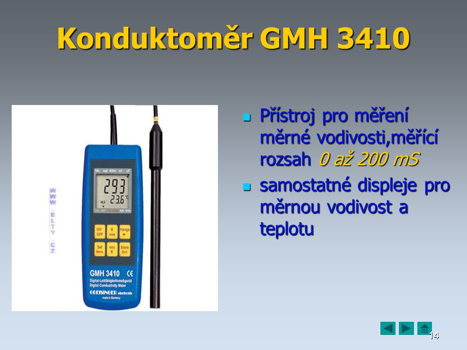 Konduktoměr GMH 3410 Přístroj pro měření měrné vodivosti,měřící rozsah 0 až 200 mS.