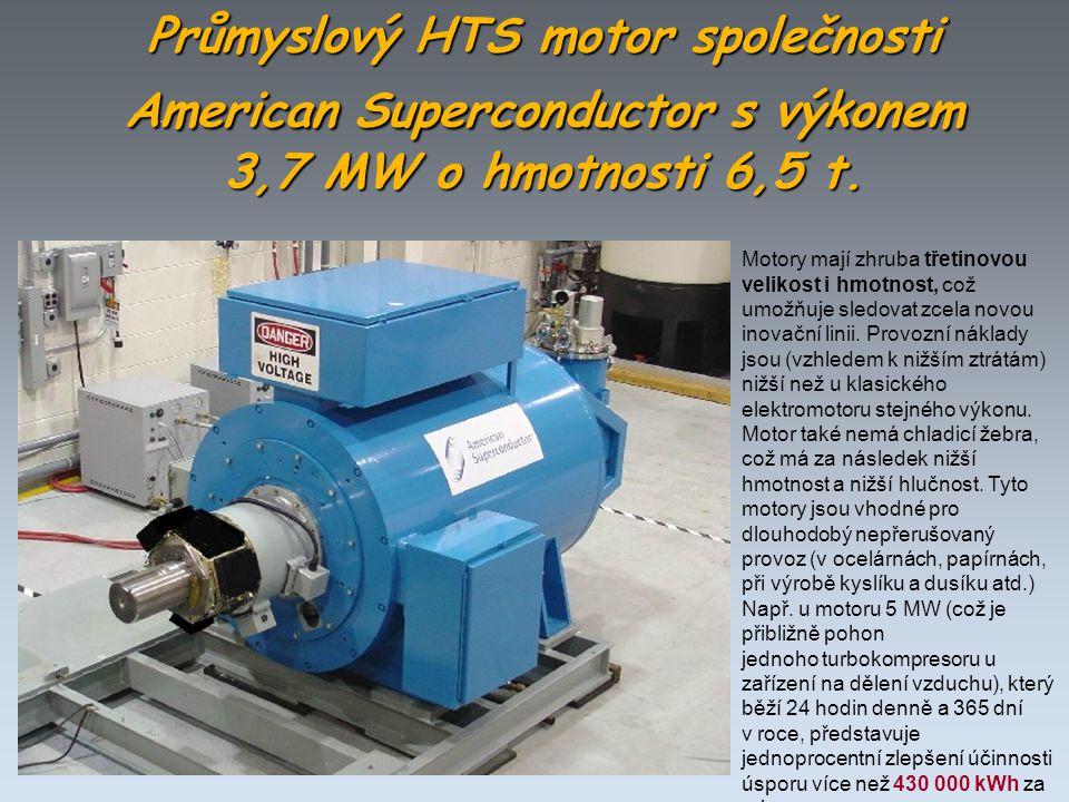 Průmyslový HTS motor společnosti American Superconductor s výkonem 3,7 MW o hmotnosti 6,5 t.