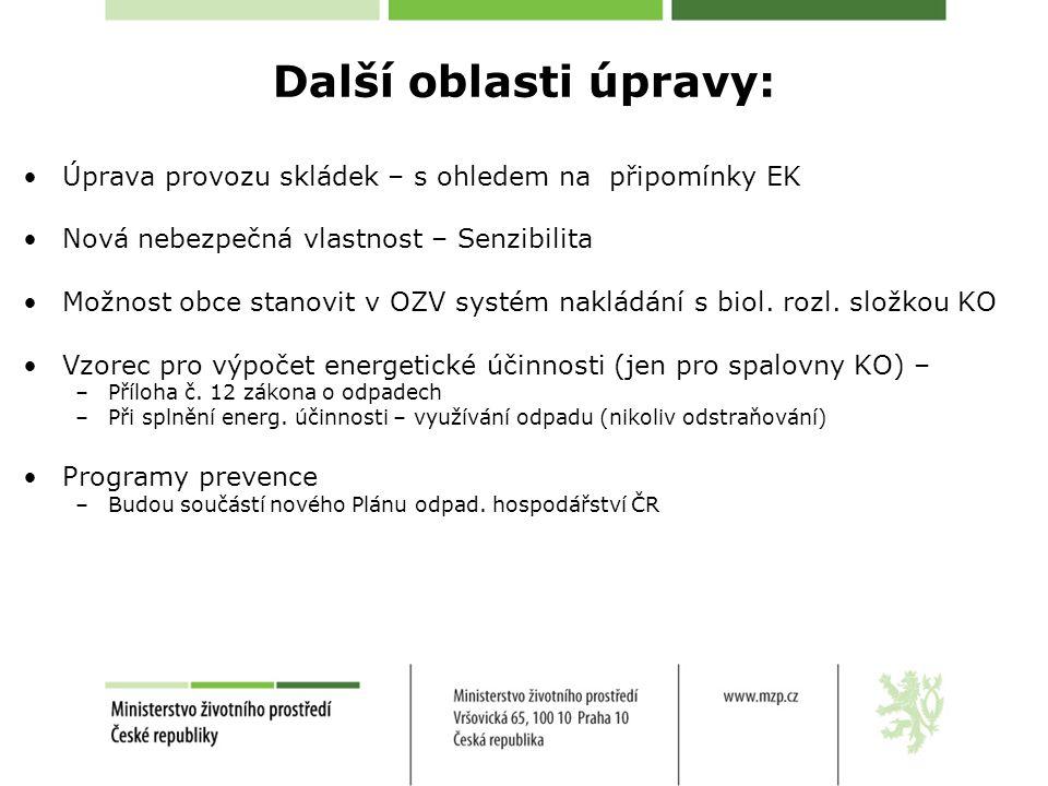Další oblasti úpravy: Úprava provozu skládek – s ohledem na připomínky EK. Nová nebezpečná vlastnost – Senzibilita.
