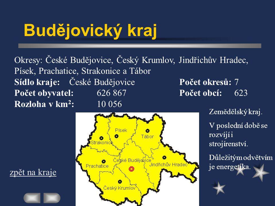 Budějovický kraj Okresy: České Budějovice, Český Krumlov, Jindřichův Hradec, Písek, Prachatice, Strakonice a Tábor.