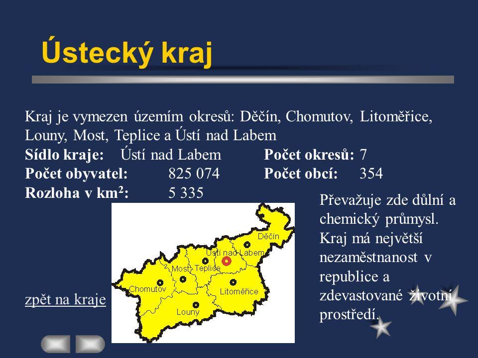 Ústecký kraj Kraj je vymezen územím okresů: Děčín, Chomutov, Litoměřice, Louny, Most, Teplice a Ústí nad Labem.