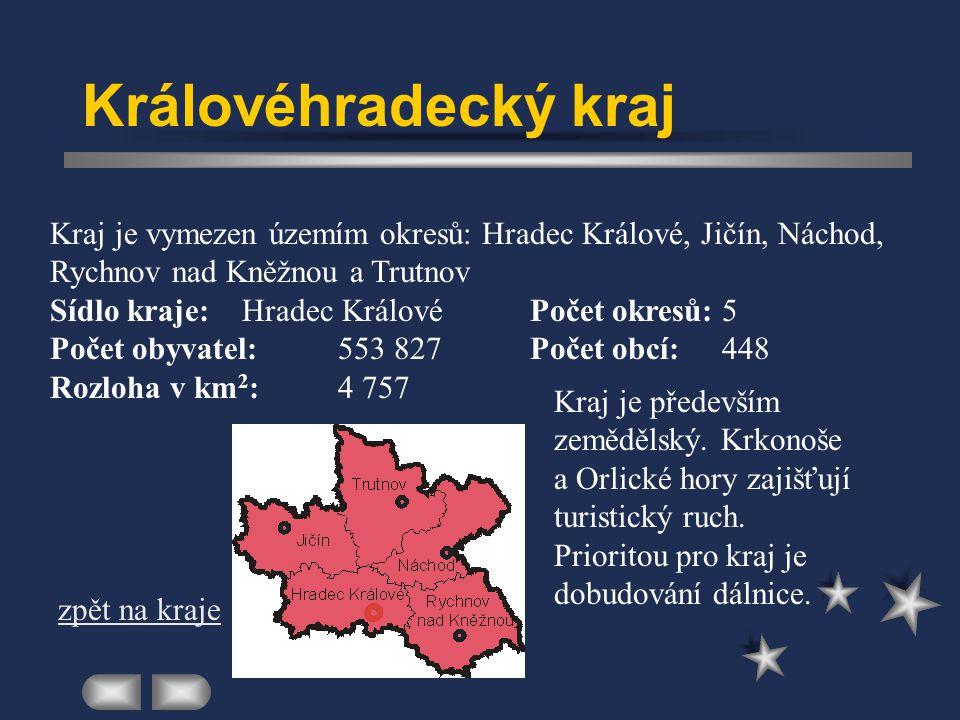 Královéhradecký kraj Kraj je vymezen územím okresů: Hradec Králové, Jičín, Náchod, Rychnov nad Kněžnou a Trutnov.