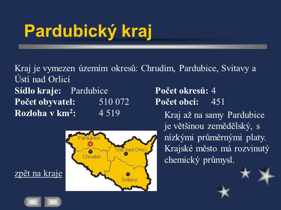 Pardubický kraj Kraj je vymezen územím okresů: Chrudim, Pardubice, Svitavy a Ústí nad Orlicí. Sídlo kraje: Pardubice Počet okresů: 4.