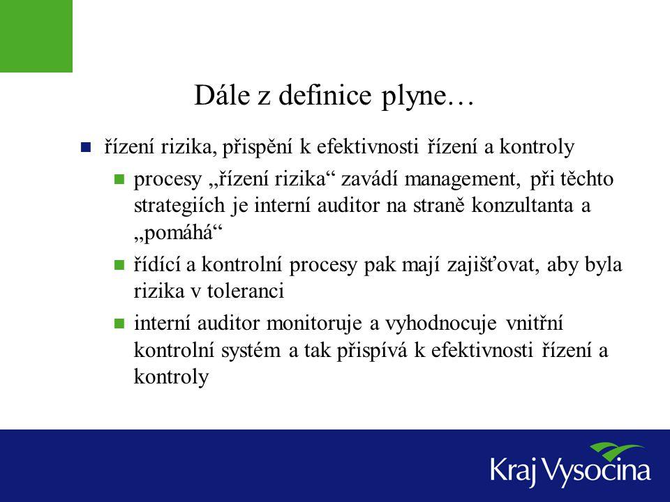 Dále z definice plyne… řízení rizika, přispění k efektivnosti řízení a kontroly.