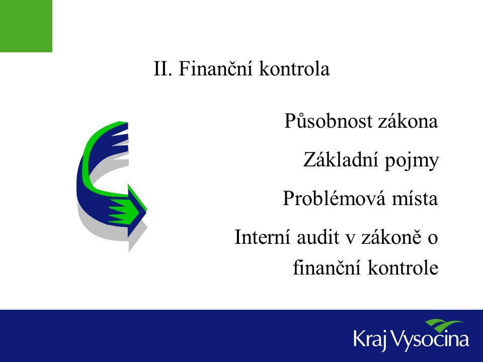 II. Finanční kontrola Působnost zákona. Základní pojmy.