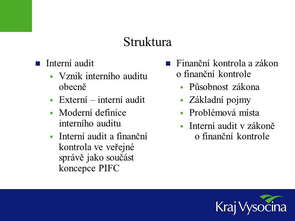 Struktura Interní audit Vznik interního auditu obecně