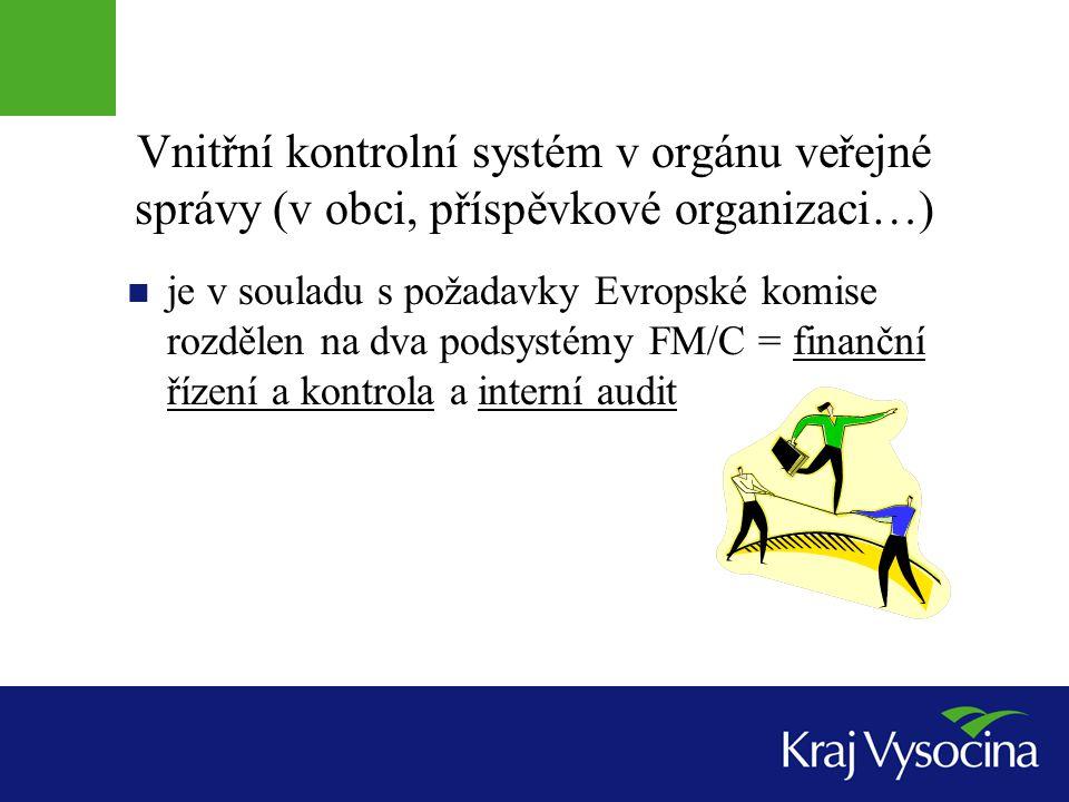 Vnitřní kontrolní systém v orgánu veřejné správy (v obci, příspěvkové organizaci…)