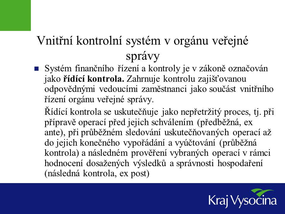 Vnitřní kontrolní systém v orgánu veřejné správy