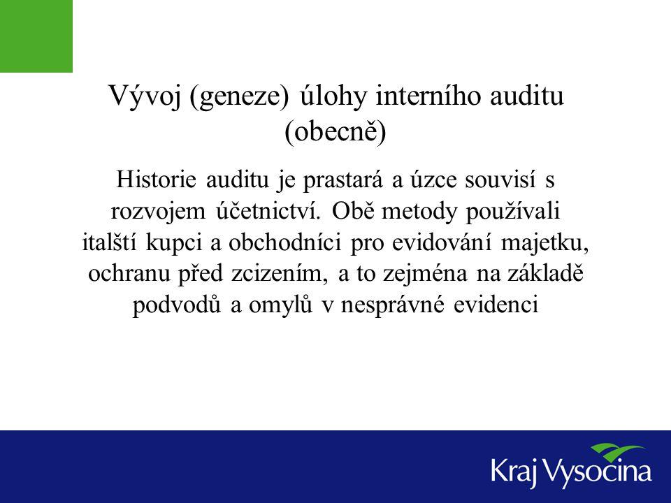Vývoj (geneze) úlohy interního auditu (obecně)