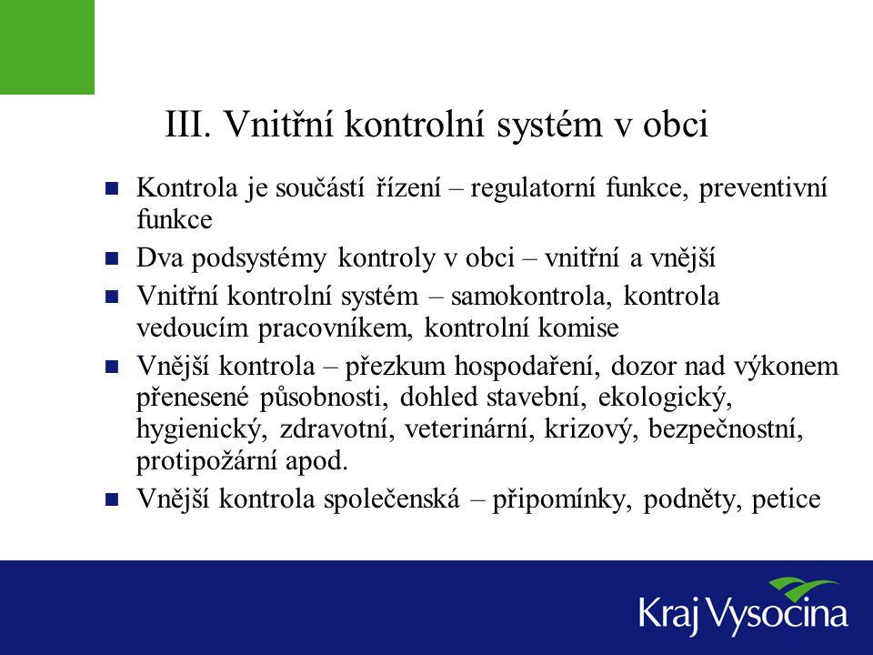 III. Vnitřní kontrolní systém v obci