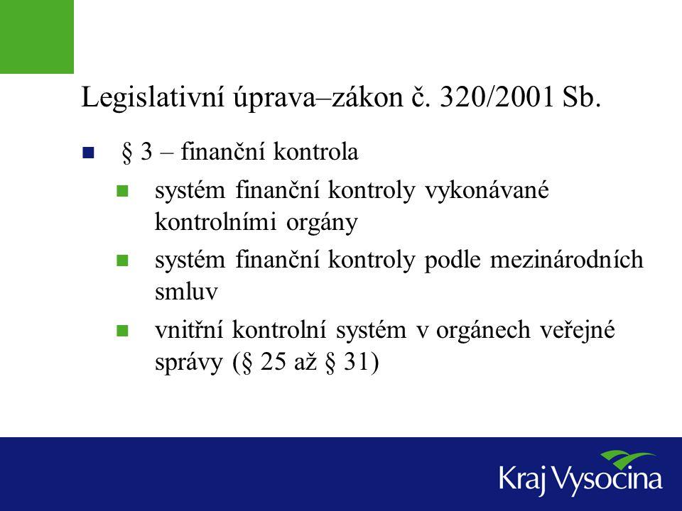 Legislativní úprava–zákon č. 320/2001 Sb.