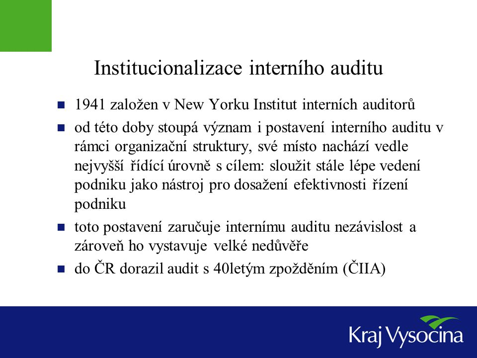 Institucionalizace interního auditu