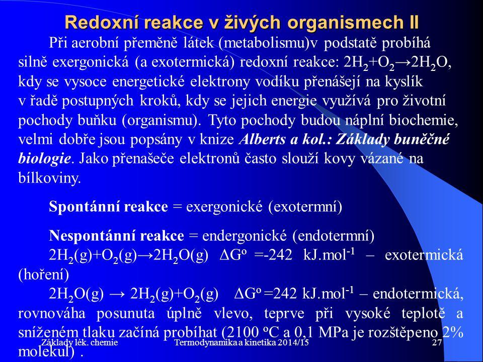 Redoxní reakce v živých organismech II
