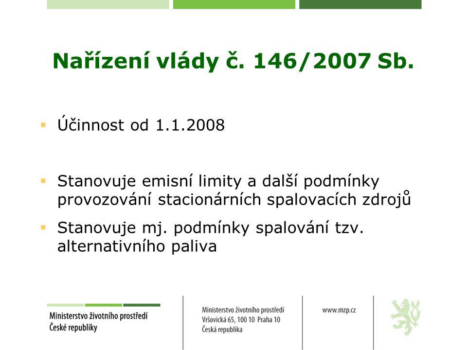 Nařízení vlády č. 146/2007 Sb. Účinnost od 1.1.2008