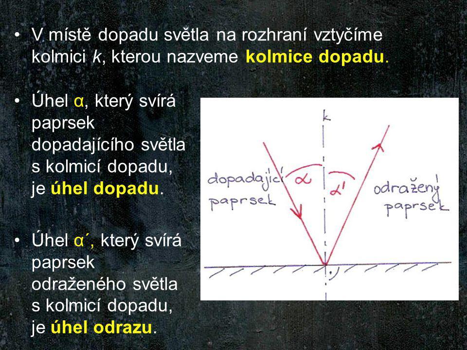 V místě dopadu světla na rozhraní vztyčíme kolmici k, kterou nazveme kolmice dopadu.